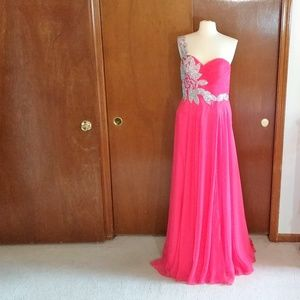 Kasey J coral chiffon crystal beaded gown 10